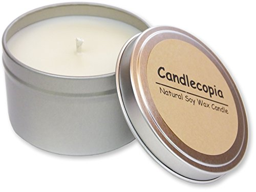 Candlecopia Gardenia Strongly Scented Sustainable Vegan Natural Soy Travel Tin Candle Gardenia Soy Candle