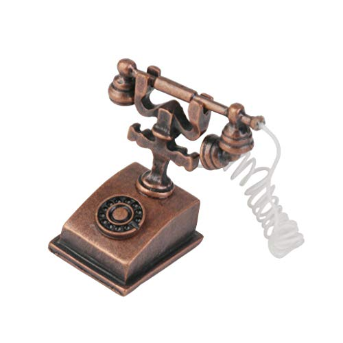 Stockholm Desk Phone - NATFUR Retro Metal Desk Rotary Dial Telephone Phone French Style 1/12 House Decor