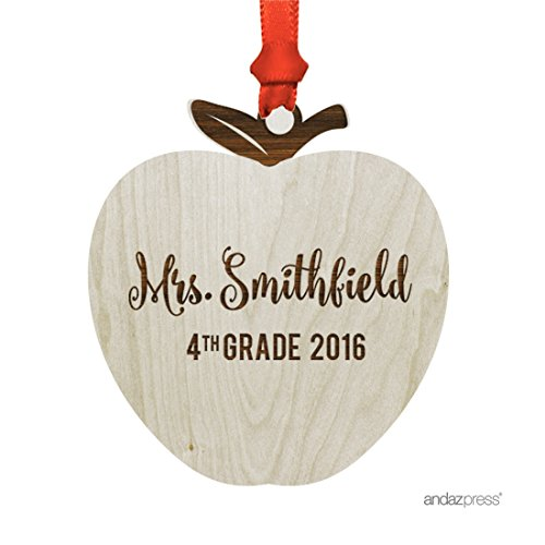 Name Ornament Personalized (Andaz Press Personalized Laser Engraved Wood Christmas Ornament with Gift Bag, Teacher Grade 2018, Apple Shape, Custom Name, 1-Pack, Natural Wooden Teacher's Gift)
