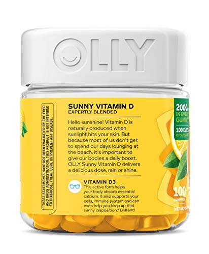 OLLY Sunny Vitamin D Gummy, 100 Day Supply (100 Gummies), Luminous Lemon, 2000 IU Vitamin D3, Chewable Supplement by Olly (Image #1)