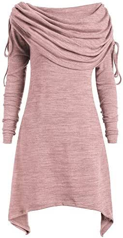 Plus Size Women's Fashion Casual Vintage Solid Color Ruched Long Foldover Collar Tunic Top Blouse Tops Tunic