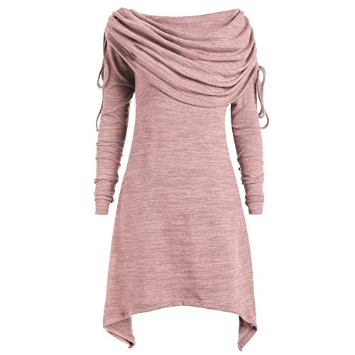 (KIKOY Women Plus Size Pretty Long Sleeve Fold-Over Collar Ruched Long Tunic Tops)