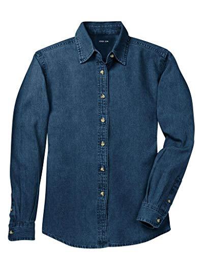 Joe's USA Ladies Long Sleeve Value Denim Shirts in Sizes XS-4XL Dark Blue (Blue Dress Shirts Ladies)