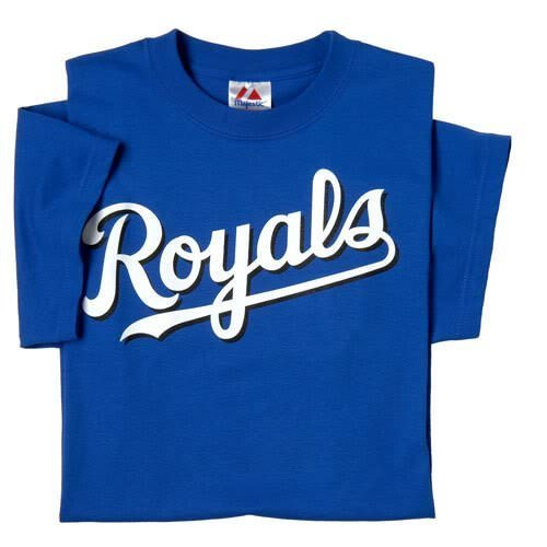 Kansas City Royals Crewneck Officially Licensed MLB Majestic YOUTH Replica T-Shirt Jersey (Royal Youth Mlb Replica Jersey)