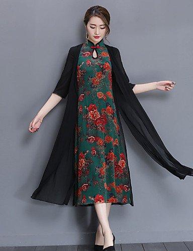 Mujer Línea A Vestido Casual/Diario Tallas Grandes Vintage,Estampado Escote Chino Midi 1/2 Manga Poliéster Primavera Verano Tiro Medio