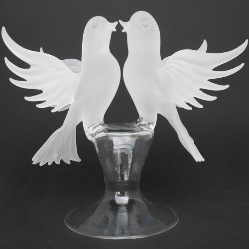 Blown Glass Cake Toppers - White Doves Lovebirds Blown Glass Wedding Cake Topper