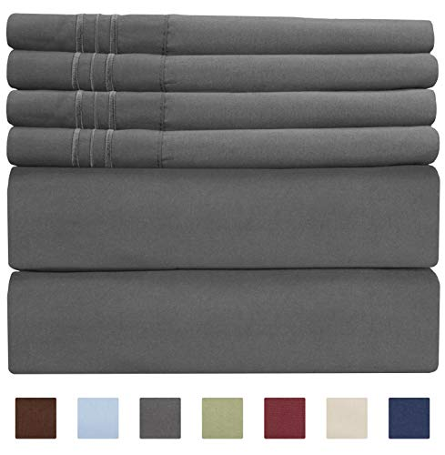 (King Size Sheet Set - 6 Piece Set - Hotel Luxury Bed Sheets - Extra Soft - Deep Pockets - Easy Fit - Breathable & Cooling Sheets - Wrinkle Free - Comfy - Gray - Grey Bed Sheets - Kings Sheets - 6 PC )