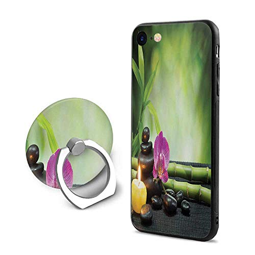 Spa iPhone 6 Plus/iPhone 6s Plus Cases,Orchid Bamboo Stems Chakra Stones Japanese Alternative with Feng Shui Elements Apple Green Fuchsia,Design Mobile Phone Shell Ring Bracket