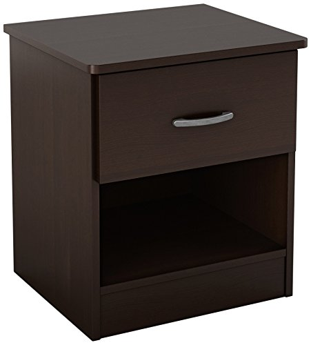 South Shore Libra 1-Drawer Nightstand, Chocolate with Metal Handle - Table Bedside Drawer 1