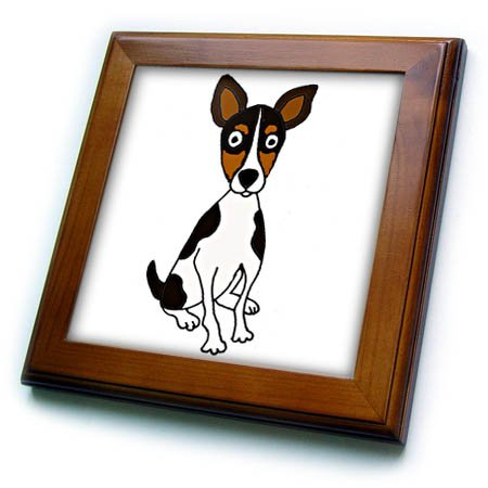 3dRose Funny Cute Rat Terrier Puppy Dog Cartoon Art Framed Tile, 8 x 8