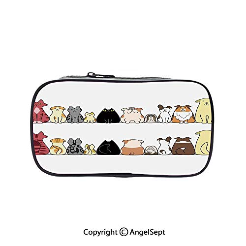 Bag Pen Case Felt Students Stationery Pouch Zipper Bag,Cats and Dogs Collie Calico Labrador Scottish Shorthair Tabby Shih Tzu Pet Lovers Art Print Decorative 5.1inches,for Pens,Pencils,and Other SCH