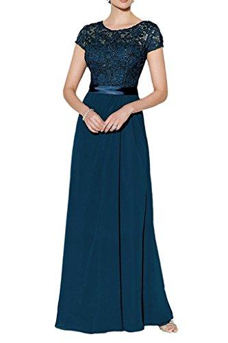 Chiffon Spitze Blau Brautmutterkleider Langes Rock Marie Braut Kurzarm Dunkel Blau Ballkleider La Abendkleider Damen wqIzTTxE