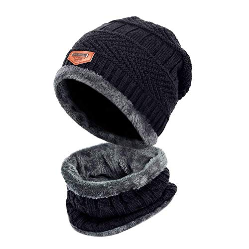 FayTop Boys Girls Skull Cap Beanie Hat Warm Knitted Hat and Circle Scarf  Skiing Hat Outdoor 592a0388a543