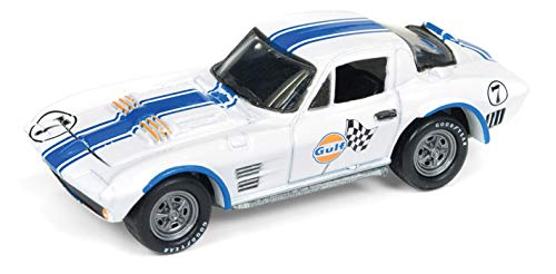 - 1963 Chevrolet Corvette Grand Sport Gulf #7 White with Blue Stripes Limited Edition to 3,000 Pieces Worldwide 1/64 Diecast Model Car by Johnny Lightning JLSP010