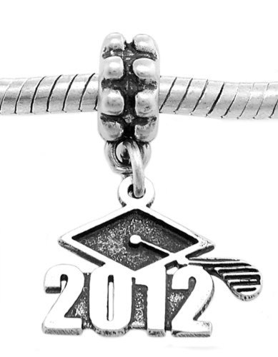 2012 Graduation Charm - Sterling Silver Oxidized Class of 2012 Dangle Bead Charm