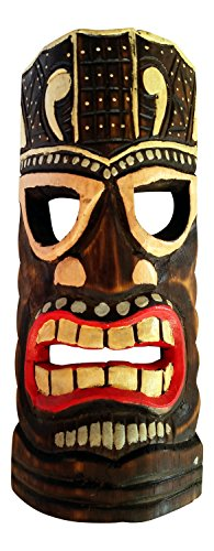 Painted Tiki Mask - Seaside Accents Colorful Tiki Mask Wall Decor - Painted Wood, 12 Inches