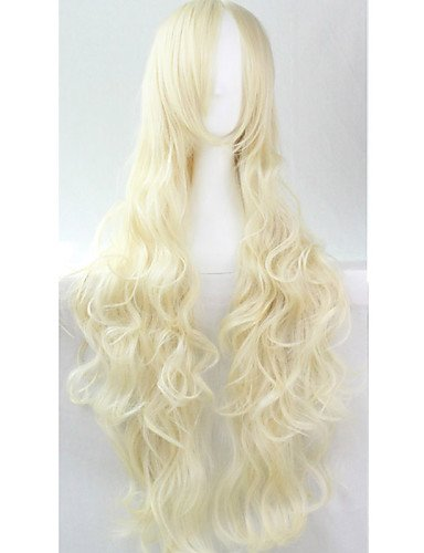 ahom peluca Noble cos Anime Pelucas Larga de vivos colores color crema plata Cabello Peluca 80