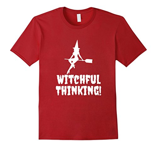 [Men's Witchful Thinking Halloween Spooky Funny T-Shirt 3XL Cranberry] (Best College Halloween Outfits)
