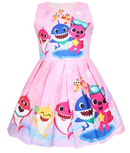 Coralup Toddler Girls Baby Shark Sleeveless Party Dress(Pink,3-4 Years) ()