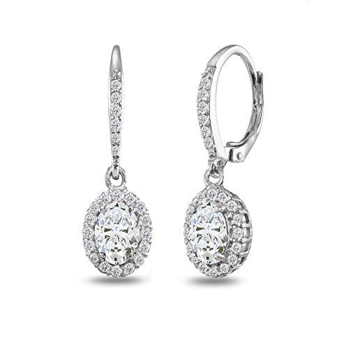 Sterling Silver Cubic Zirconia Oval Dangle Halo Leverback Earrings with Cubic Zirconia Accents (Cubic Zirconia Star Dangle)
