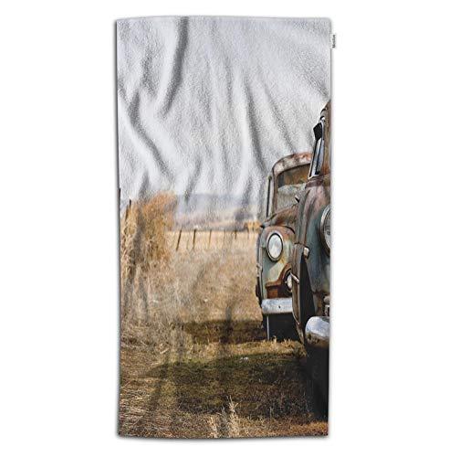 - Moslion Car Bath Towel Vintage Cars on American Rural Countryside Dry Grass Metal Headlight Towel Soft Microfiber Baby Hand Beach Towel for Kids Bathroom 32x64 Inch