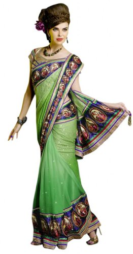 Triveni Green Net Velvet Jacquard Partywear Border Work Indian Saree TSMH9218