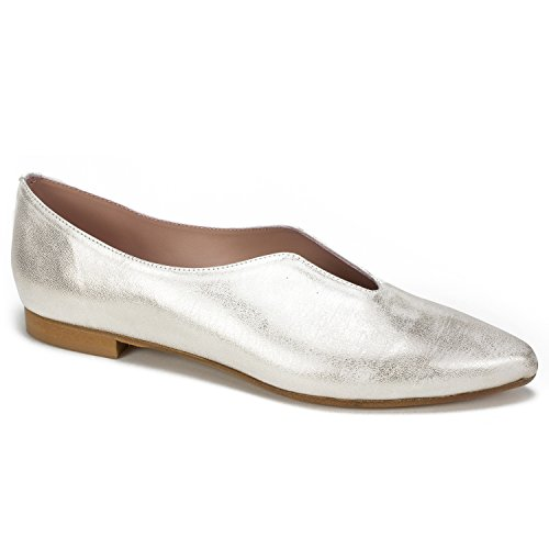 WHITE MOUNTAIN Summit KADE Women's Flat, Platinum/Metallic, 38 M (Italian Made White Leather)