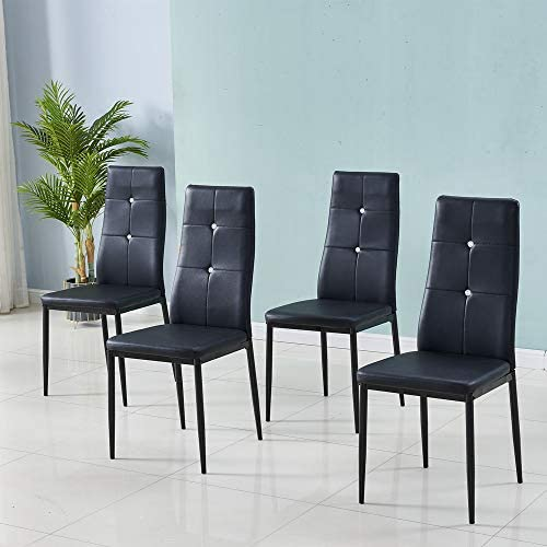 PU Leather Dining Chairs Set of 4 High Back Kitchen Chair Modern Dining Chairs