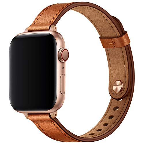 OUHENG Slim Band Compatible with Apple Watch Band 40mm 38mm 44mm 42mm, Women Genuine Leather Band Replacement Thin Strap for iWatch SE Series 6 5 4 3 2 1