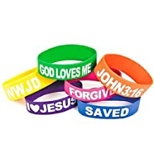 Wholesale Rubber Religious Big Band Bracelets God Loves Me, I Love Jesus, Saved, Forgiven, John 3:16 and WWJD (12 Pack)