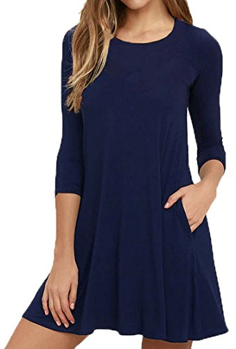 Viishow Women's 3/4 Sleeve Tunic Top T-Shirt Swing Dresses with Pockets Navy Blue S -