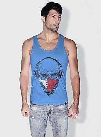 Creo Bahrain Skull Tanks Tops For Men - Xl, Blue