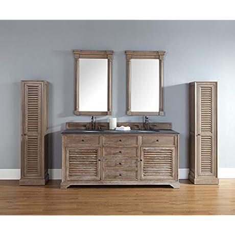 James Martin 238 104 5711 DSC Savannah 72 Driftwood Double Vanity With Santa Cecilia Stone