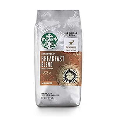 Starbucks Breakfast Blend Medium Roast Whole Bean Coffee, 12-Ounce Bag ( Pack May Vary ) by Starbucks