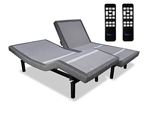 iDealBed iEscape Adjustable Bed Base, Wall Hugger, Wireless Massage, Zero-Gravity, Anti-Snore, Night Light, Memory, Next Gen USB Charge Ports, Split King, Grey For Sale