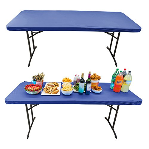 Houseables Elastic Table Cover, Fitted Tablecloth, 6 Foot, 30 X 72 Inch, 50 Pack, Blue, Vinyl, Rectangle Tablecover, Stay Put, Plastic Disposable Top Covers, For Patio, Outdoor Picnic, Dining Tables (Patio Toronto Outdoor Restaurants)