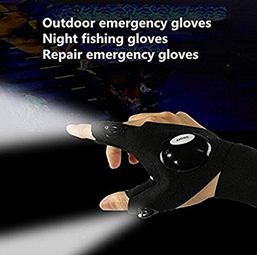 Half Finger LED Flashlight Gloves Night Fishing Gloves Luminous Multipurpose Glove for Repairing and Working in Darkness Places, Outdoor Sports, Fishing, Camping, Hiking, Running, One Pair by TKSTAR (Image #6)