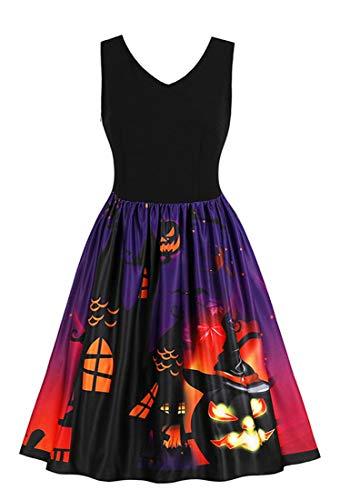 Killreal Women's V Neck 3D Castle Pumpkin Themed Pattern Vintage Cocktail Halloween Party Dress Black X-Large