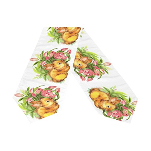 Naanle Double Sided Spring Easter Bunny Flower Long Polyester Table Runner for Kitchen Dinning Living Room Holiday Wedding Party Decoration-13x90 Inch (Easter Bunny Table Runner)