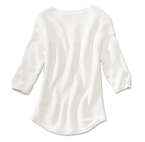 Orvis Women's Cotton/Cashmere Three-Quarter-Sleeved Easy Sweater, White, X Large