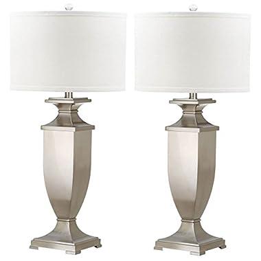Safavieh Lighting Collection Ambler Nickel 31.5-inch Table Lamp (Set of 2)