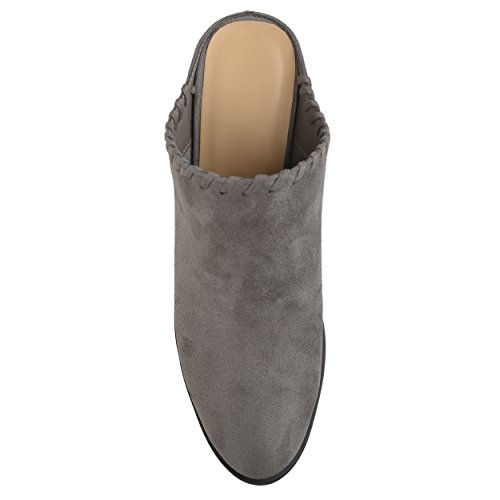 Brinley Co Womens Slide-On Whipstitch Faux Suede High Heel Mules Grey OftOA