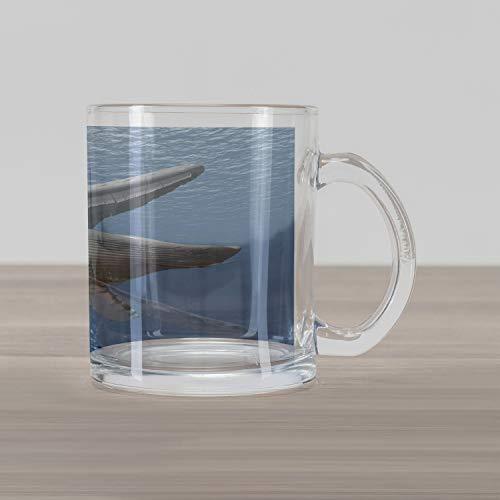Lunarable Ocean Whale Glass Mug, Digital Drawing of Humpback Aquatic Mammal Underwater, Printed Clear Glass Coffee Mug Cup for Beverages, 15 oz, Sea Blue Charcoal Grey