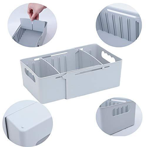 Heaci Adjustable Storage Bin Plastic Drawer Divider Bathroom Kitchen Organizer Expandable Desk Closet, Grey, 3 Section