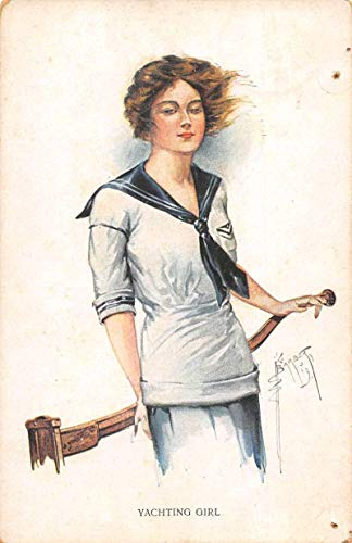 Yachting Girl Woman Sailor Artist Signed Vintage Postcard JF686949