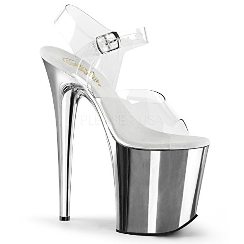 "Pleaser Flamingo-808 Exotic Dancing Shoes, Super High Heels 8"" Platform Sandal. Clear/Silver/Chrome Size 6"