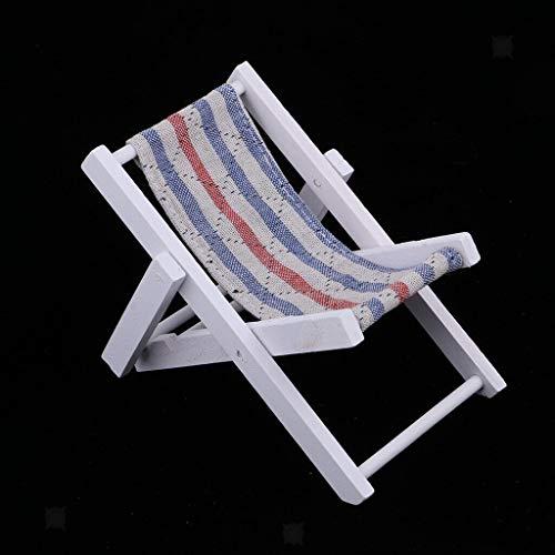 (NATFUR Dollhouse 1:6 Scale Chaise Longue Blue Stripe Wooden Armchair Kids Toys)