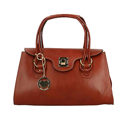 Borse En Cm Marron Cuir Sac 37x24x17 Italy Main À In Made Véritable Chicca ZxwdH1TfqZ