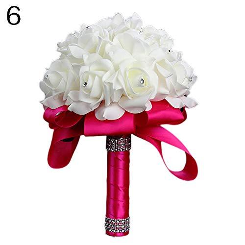 litymitzromq Artificial Flowers Fake Plants, Women Fashion Girl Wedding Flower Rose Bouquet Bride Bridesmaid Flower Wand Faux Fake Flowers Floral Arrangement