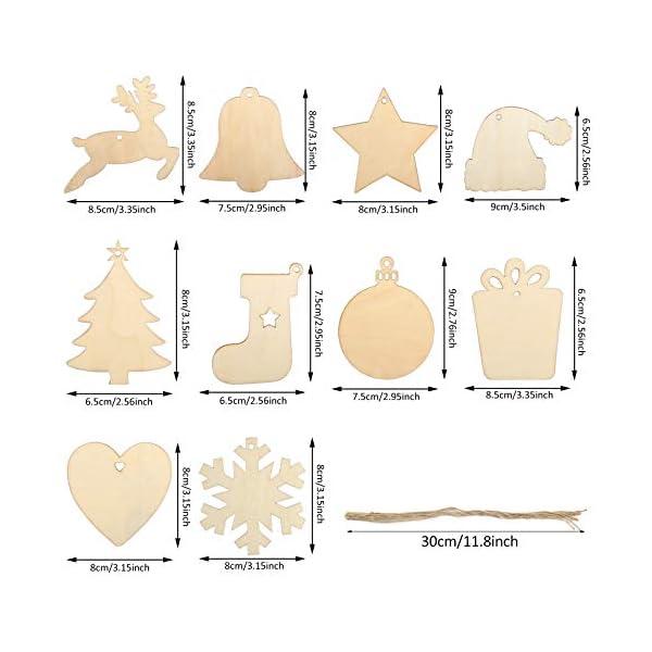KATELUO 100 Pezzi Decorazioni Natalizie in Legno, Natale Ciondolo in Legno, Decorazioni Albero di Natale in Legno, Ornamenti Natalizi in Legno per Decorare Albero di Natale Fai da Te Etichette Regalo 3 spesavip